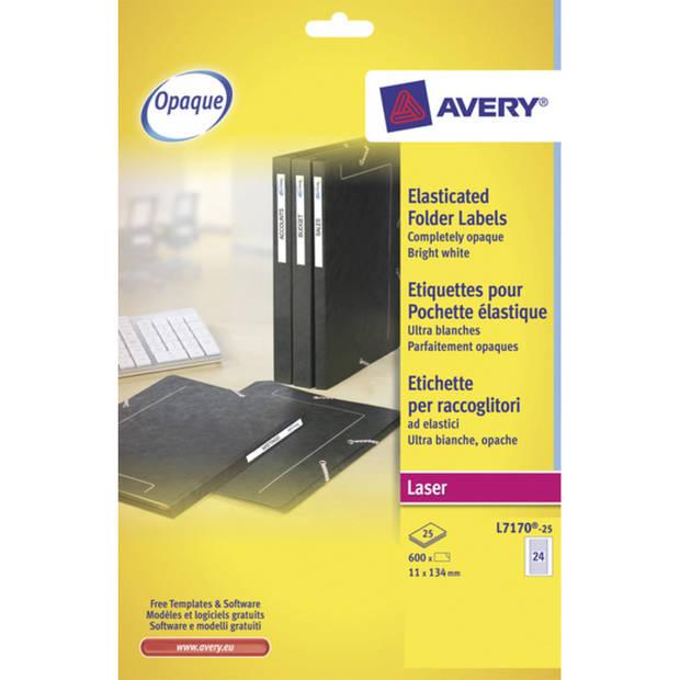 elastomapetiket Avery 134x11mm wit 25 vel 24 etiketten per vel