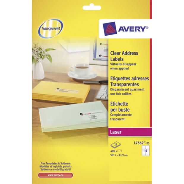 laseretiket Avery 99,1x33,9mm transparant 25 vel 16 etiketten per vel