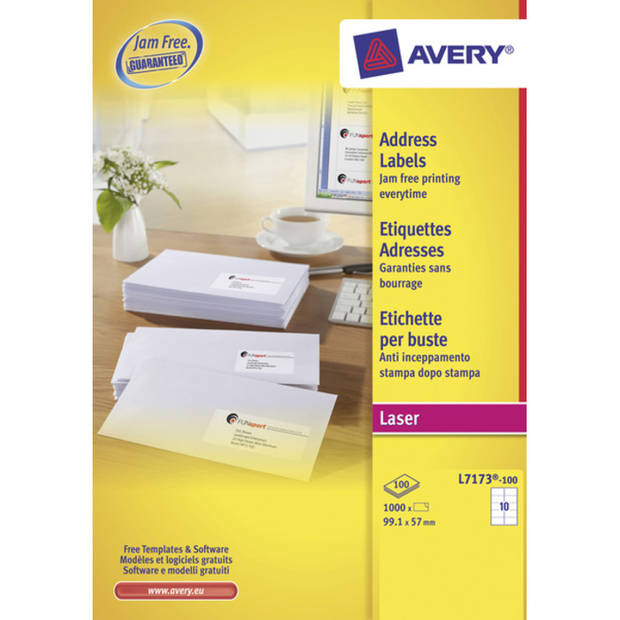 adresetiket Avery QuickPeel 99,1x57 wit 100 vel 10 etiketten per vel