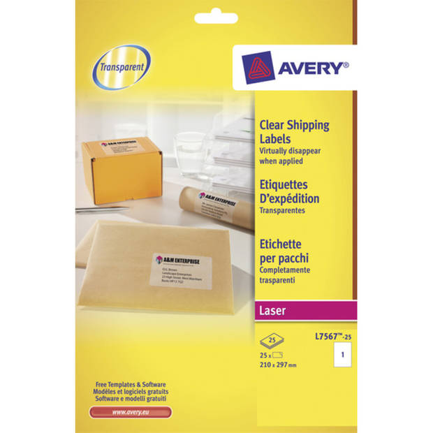 laseretiket Avery 210x297mm transparant 25 vel 1 etiket per vel