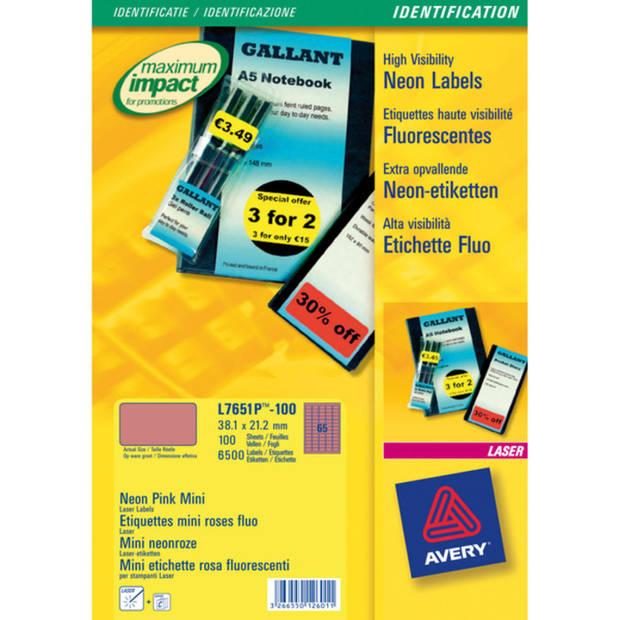 Laseretiket Avery 38,1x21,2mm fluorrose 100 vel 65 etiketten per vel