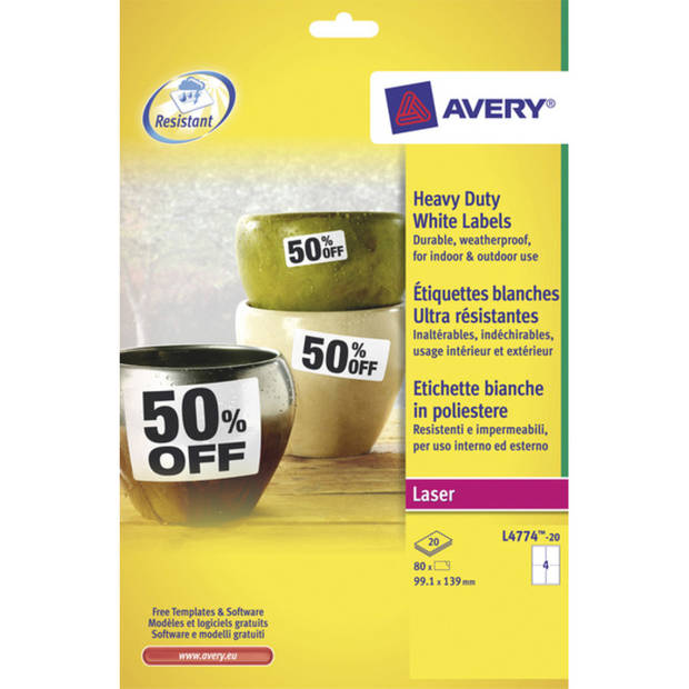 weerbestendig etiket Avery 99,1x139mm 20 vel 4 etiketten per vel