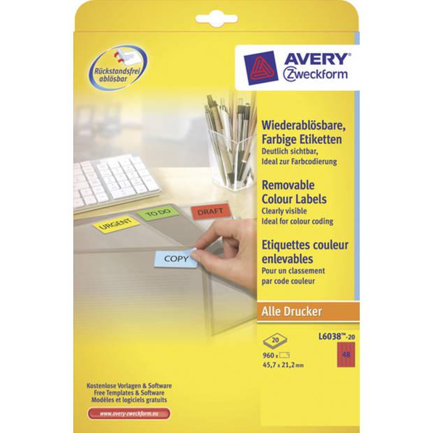 etiket Avery ILK 45,7x21,2mm 20 vel 48 etiketten per vel rood
