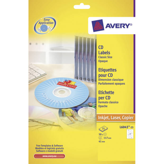 CD etiket Avery 117mm classic size 25 vel 2 etiketten per vel wit