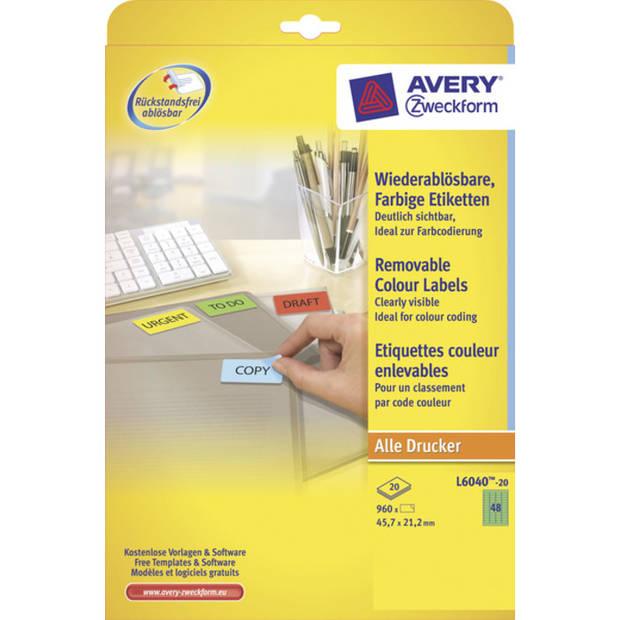 etiket Avery ILK 45,7x21,2mm 20 vel 48 etiketten per vel groen