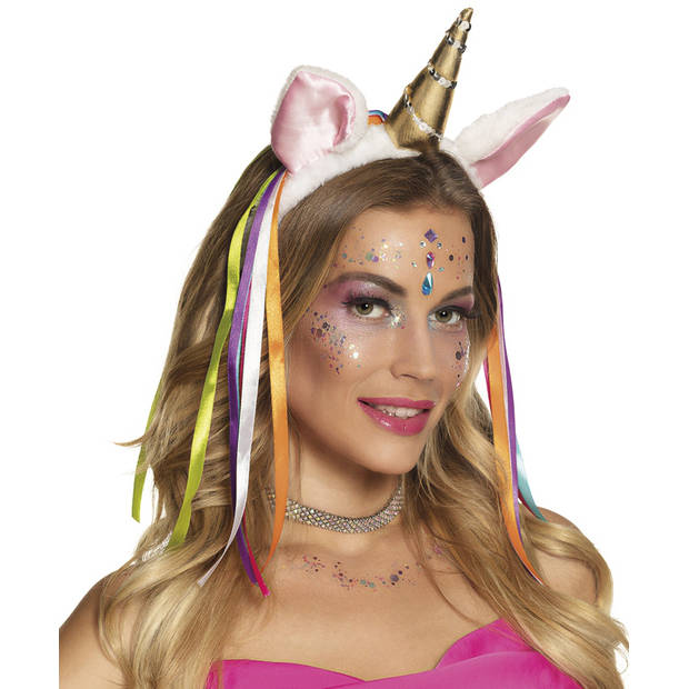 Boland tiara Flashy Unicorn dames wit