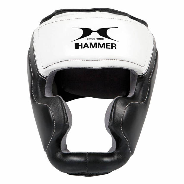 Hammer Boxing HOOFDBESCHERMER Sparring - leer - Zwart/Wit - Maat S/M - Leer