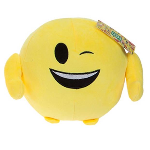 Kamparo knuffel Imoji Ball knipoog 18 cm pluche geel