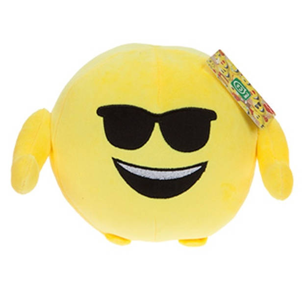 Kamparo knuffel Imoji Ball zonnebril 18 cm pluche geel