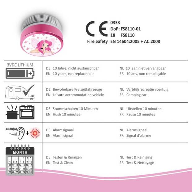 ELRO Rookmelder Kids Elfenprinses FS8110 - Met 10 Jaar Batterij - Voldoet aan Norm EN14604