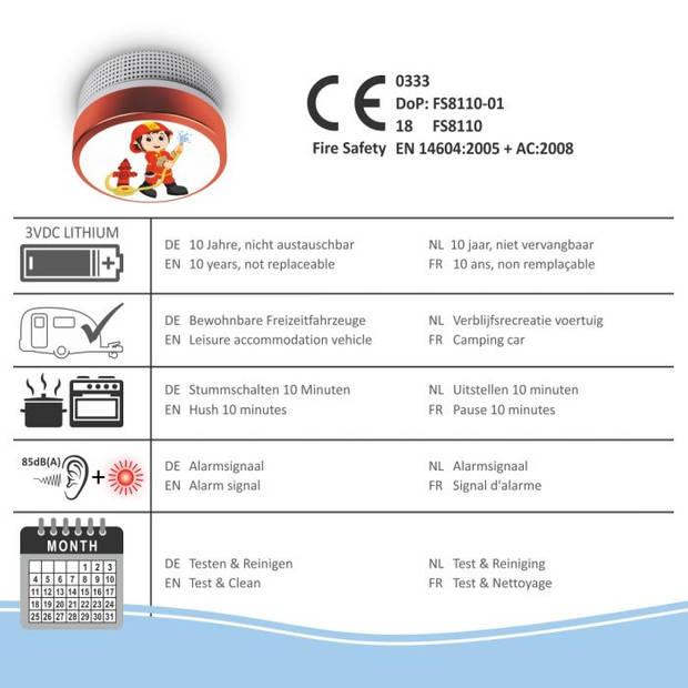 ELRO Rookmelder Kids Brandweerman FS8110 - Met 10 Jaar Batterij - Voldoet aan Norm EN14604