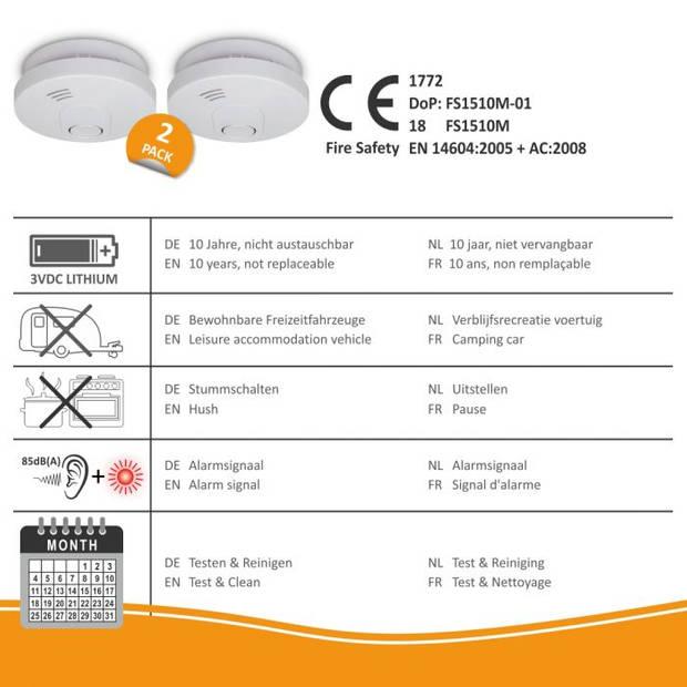 ELRO FS1510 Rookmelder met 10 Jaar Batterij en Magneet Montage - 2-pack
