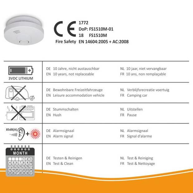 ELRO FS1510 Rookmelder met 10 Jaar Batterij en Magneet Montage