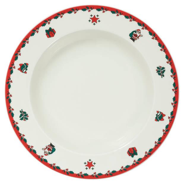 Kerst diep bord - ø 22 cm - set van 6