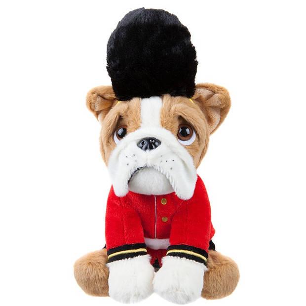 Kamparo hondenknuffel Bulldog als Royal Guard 20 cm bruin
