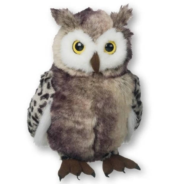 Grijze pluche uilen knuffel 25 cm