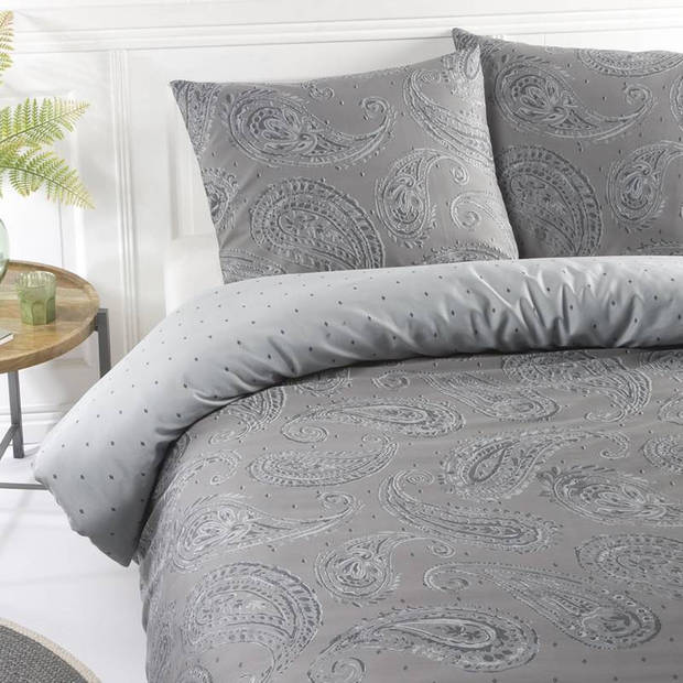 Papillon Dolly dekbedovertrek - Lits-jumeaux (240x200/220 cm + 2 slopen) - Katoen satijn - Grey