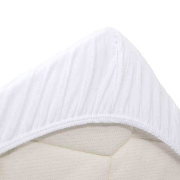 Snoozing - Dubbel Jersey - Hoeslaken - Eenpersoons - 90x210/220 cm - Wit