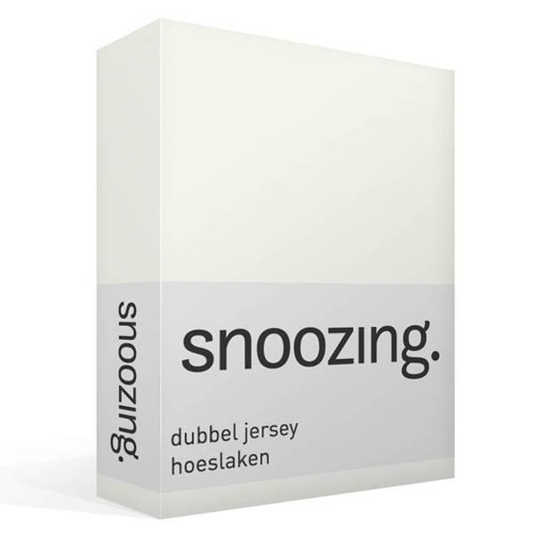 Snoozing - Dubbel Jersey - Hoeslaken - Eenpersoons - 90x210/220 cm - Ivoor