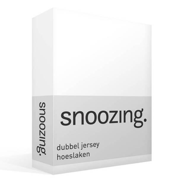 Snoozing - Dubbel Jersey - Hoeslaken - Lits-jumeaux - 160x200/210/220 cm - Wit