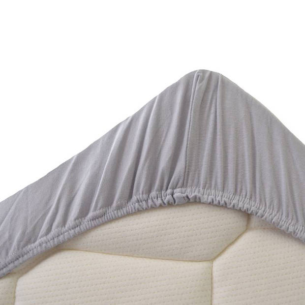 Snoozing - Dubbel Jersey - Hoeslaken - Eenpersoons - 90x210/220 cm - Grijs