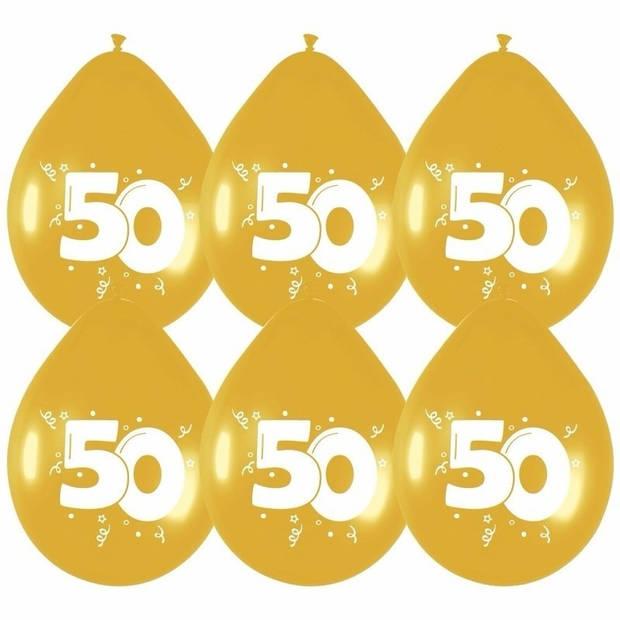 12x Gouden ballonnen 50 jaar - Ballonnen
