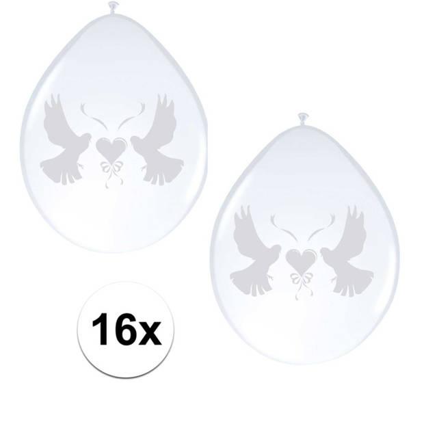 2x Ballonnen wit met duif 8 stuks - Ballonnen