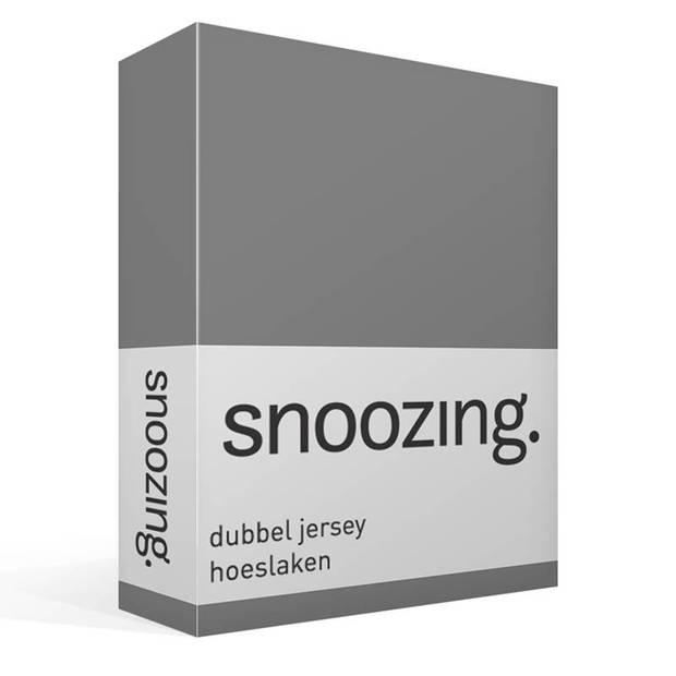 Snoozing - Dubbel Jersey - Hoeslaken - Lits-jumeaux - 180x200/210/220 cm - Grijs