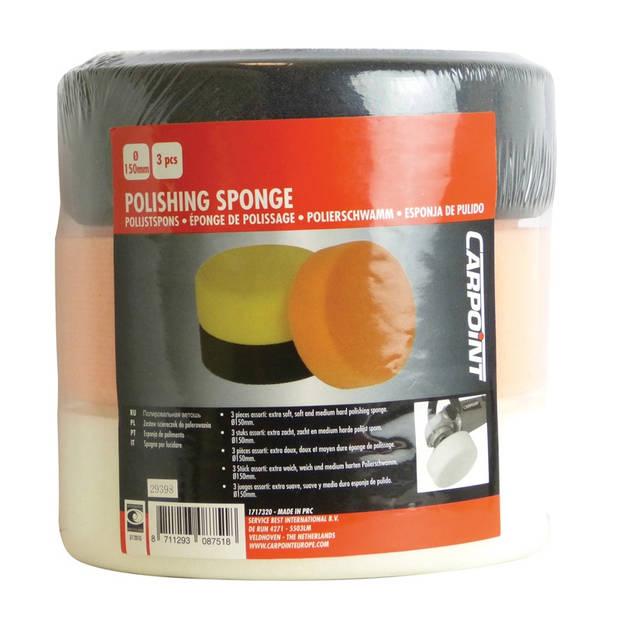 Carpoint polijstsponzenset medium, zacht, extra zacht 150 mm