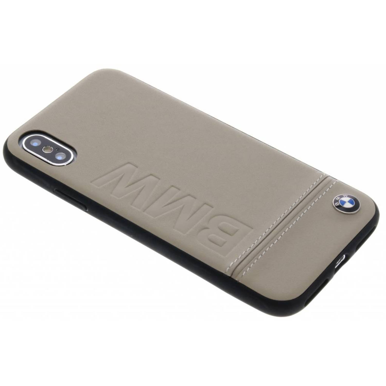 Taupe Logo Leather Hard Case voor de iPhone Xs / X