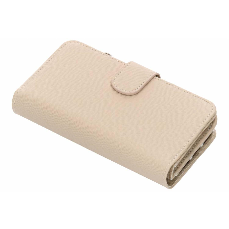Beige Saffiano 9 slots portemonnee hoes voor de iPhone 8 / 7 / 6s / 6