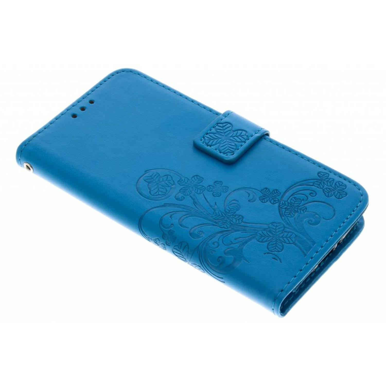 Turquoise klavertje bloemen booktype hoes voor de Motorola Moto G5S