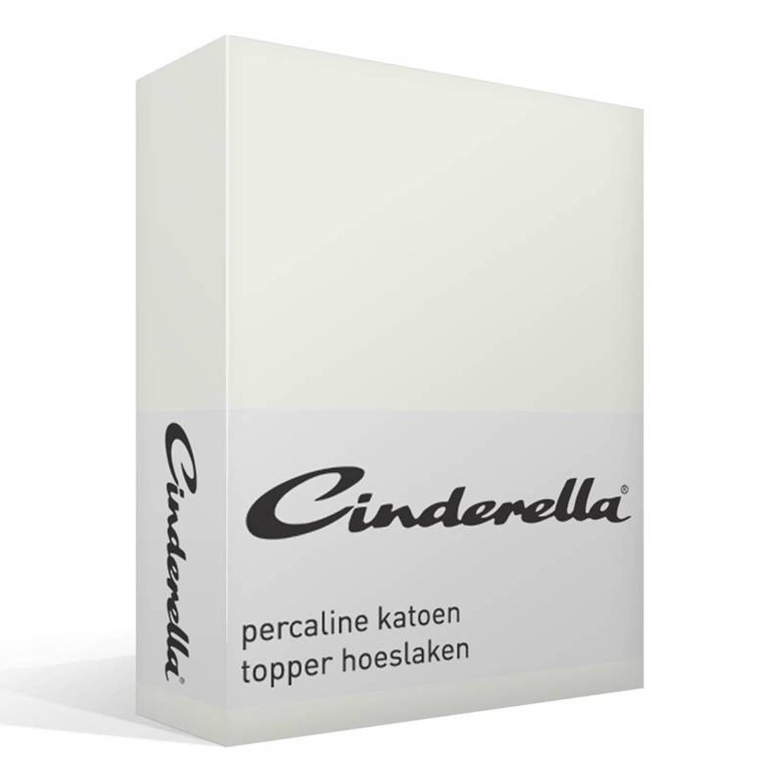 Cinderella basic percaline katoen topper hoeslaken - 100% percaline katoen - Lits-jumeaux (180x220 cm) - Ivoor
