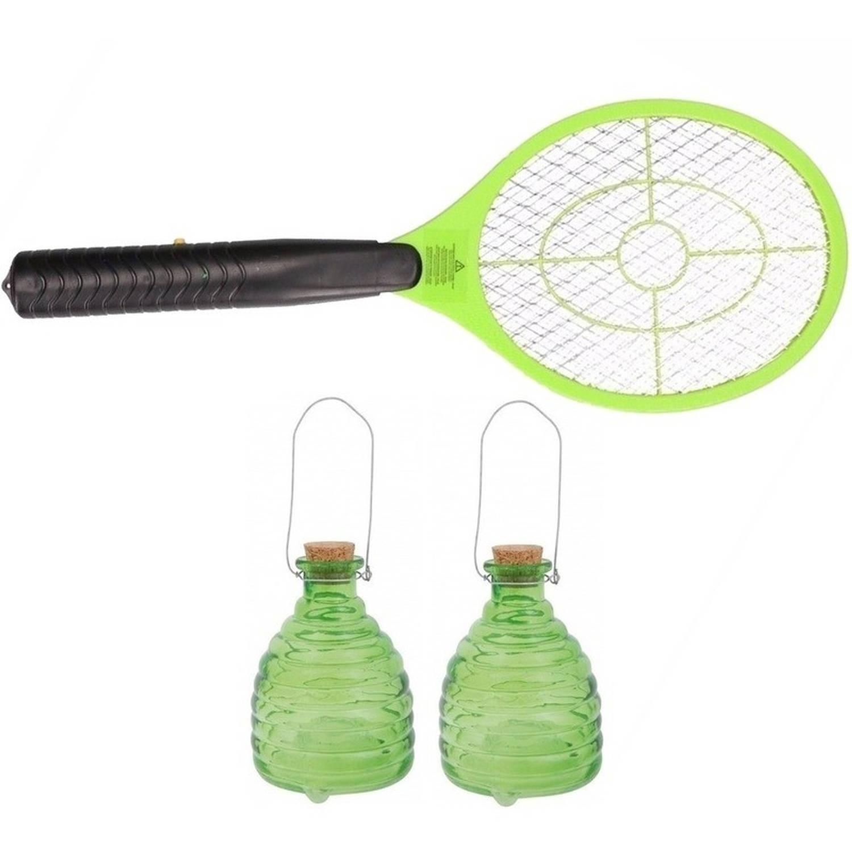 2x Groene wespenvangers met wespenmepper/vliegenmepper