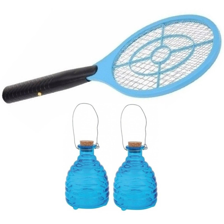 2x Blauwe wespenvangers met wespenmepper/vliegenmepper