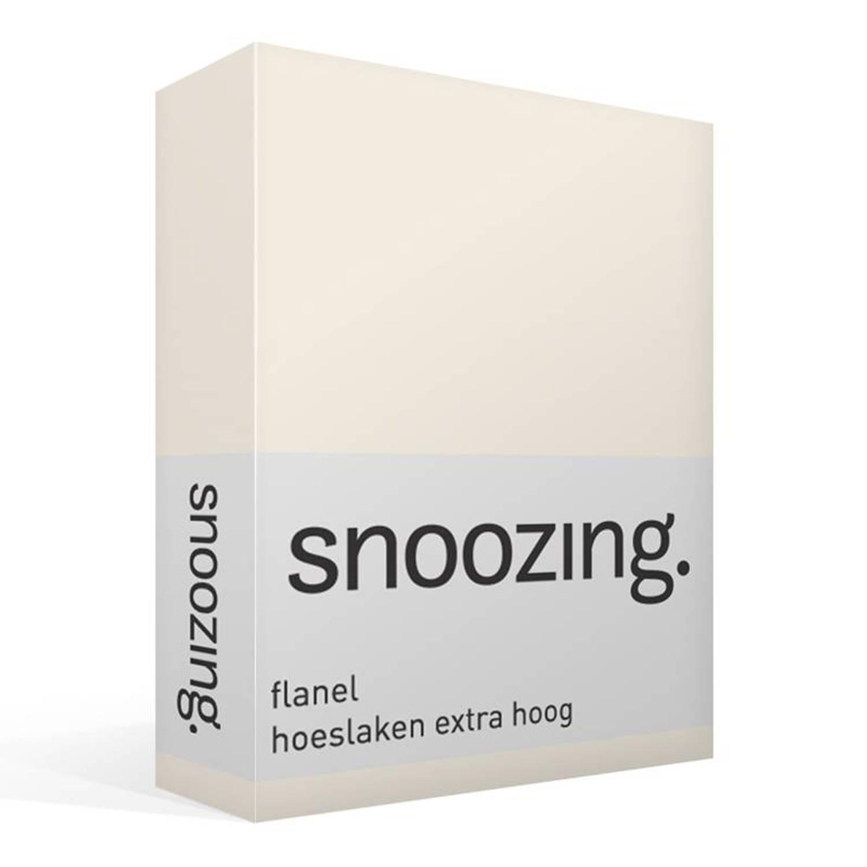 Snoozing flanel hoeslaken extra hoog - 100% geruwde flanel-katoen - Lits-jumeaux (160x200 cm) - Ivoor