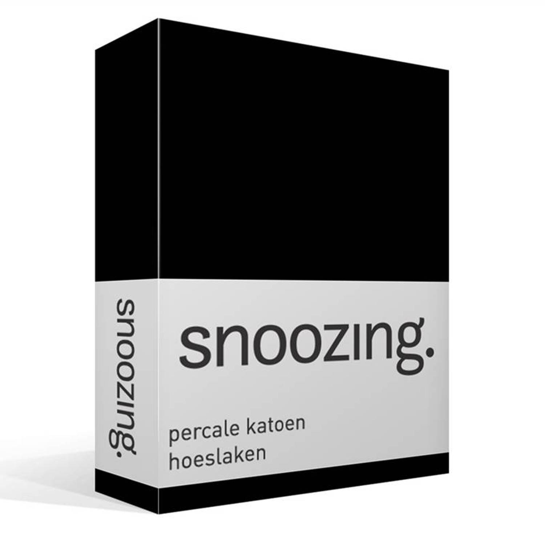 Snoozing percale katoen hoeslaken - Lits-jumeaux (160x210 cm)