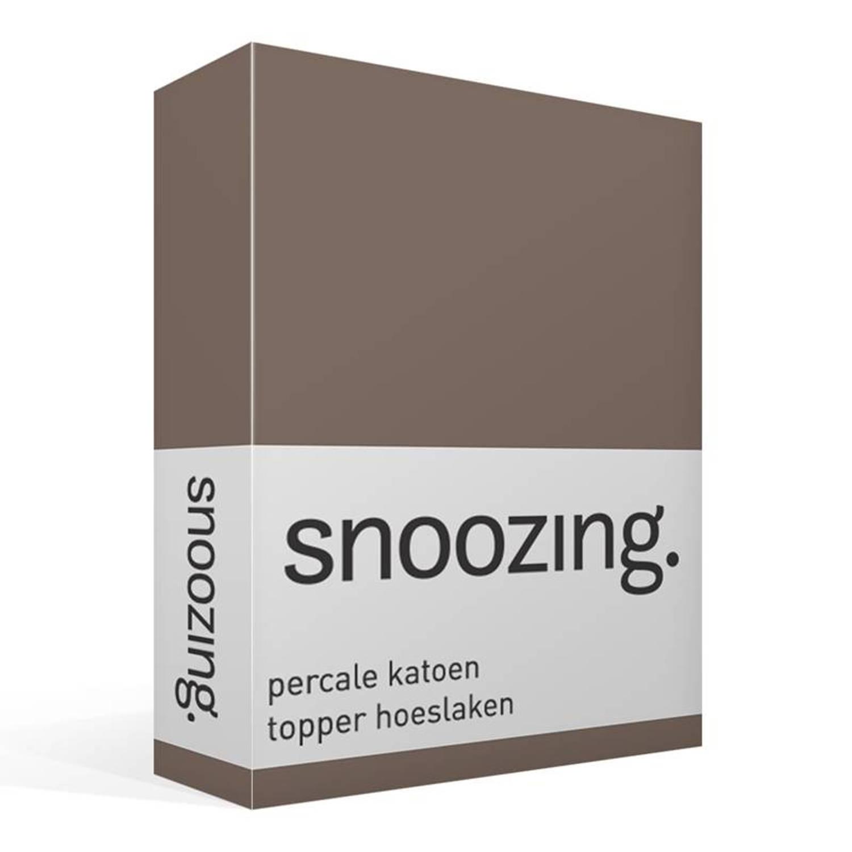 Snoozing percale katoen topper hoeslaken - 100% percale katoen - Lits-jumeaux (160x220 cm) - Bruin