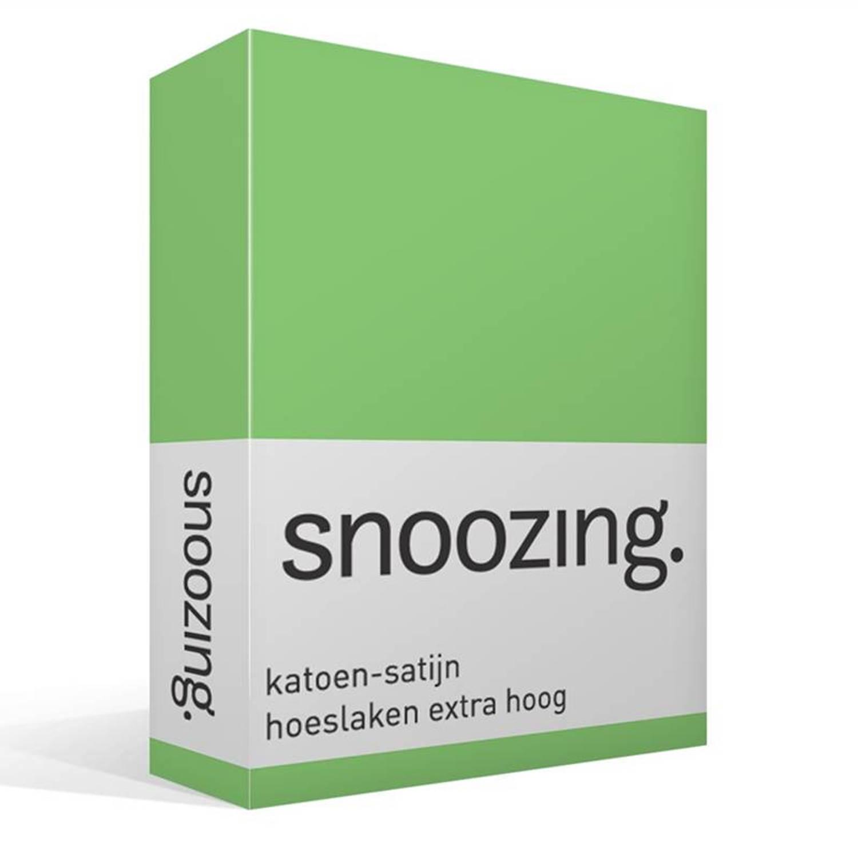 Snoozing katoen-satijn hoeslaken extra hoog - 100% katoen-satijn - Lits-jumeaux (160x200 cm) - Groen