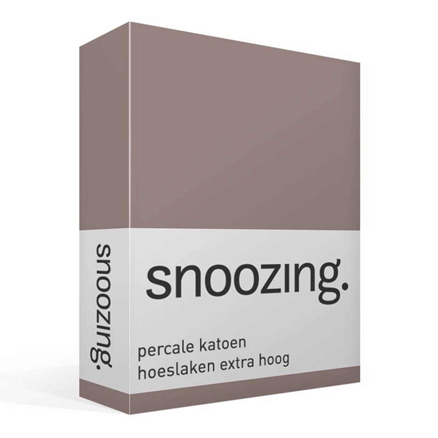 Snoozing - Hoeslaken - Percale Katoen - Extra Hoog - 180x200 - Taupe