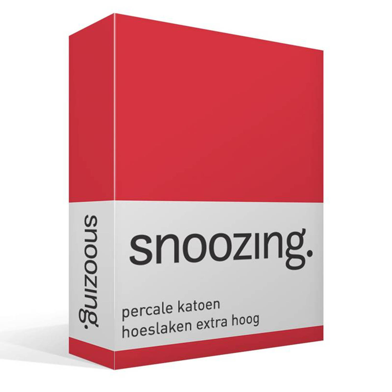 Snoozing percale katoen hoeslaken extra hoog 100 percale katoen Lits jumeaux (160x220 cm) Rood
