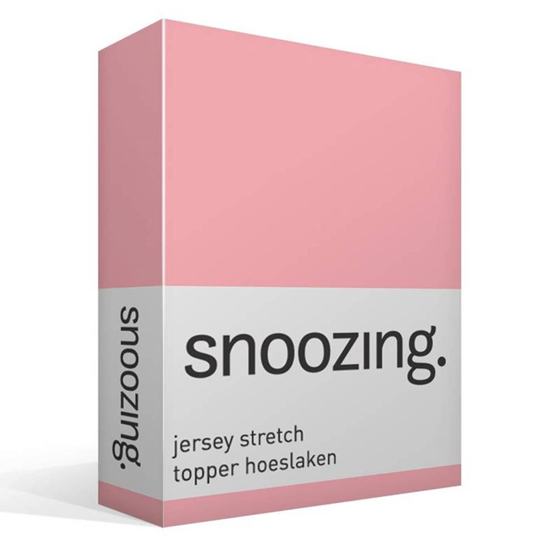 Snoozing jersey stretch topper hoeslaken - 95% gebreide katoen - 5% elastan - Lits-jumeaux (160/180x