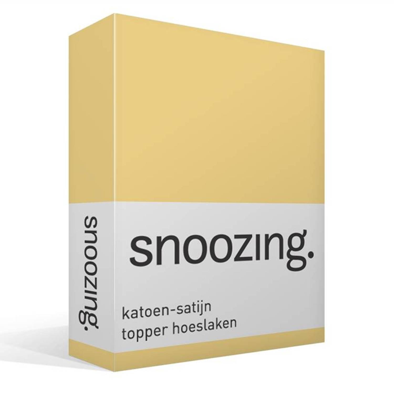 Snoozing katoen satijn topper hoeslaken 100 katoen satijn Lits jumeaux (180x210 cm) Geel