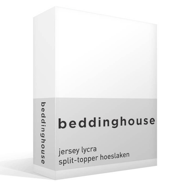 Beddinghouse jersey lycra split-topper hoeslaken - 95% gebreide katoen - 5% lycra - Lits-jumeaux (160x200/220 cm) - Wit