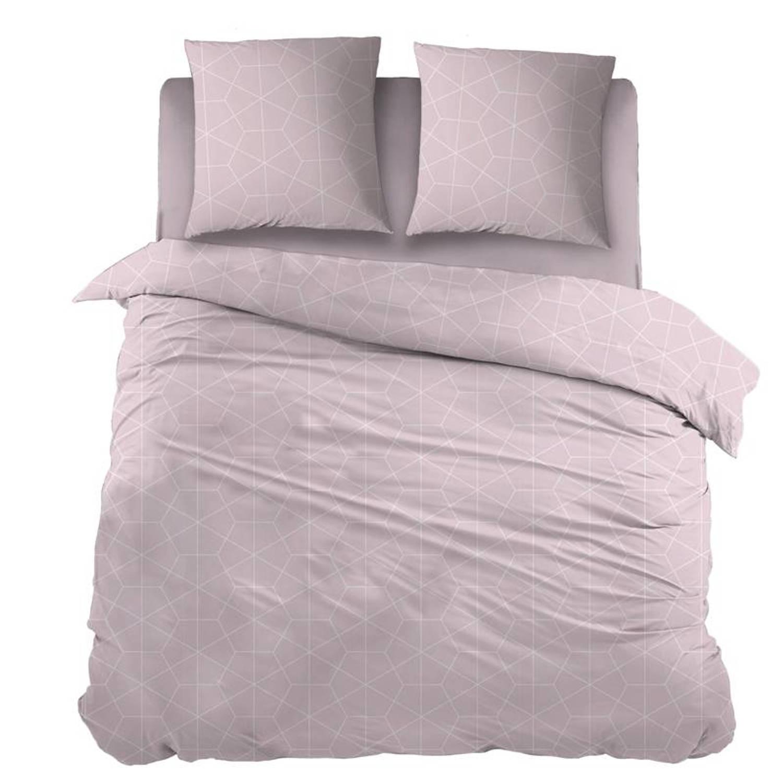 Snoozing Marieke dekbedovertrek - 100% katoen - 1-persoons (140x200/220 cm + 1 sloop) - 1 stuk (65x65 cm) - Roze