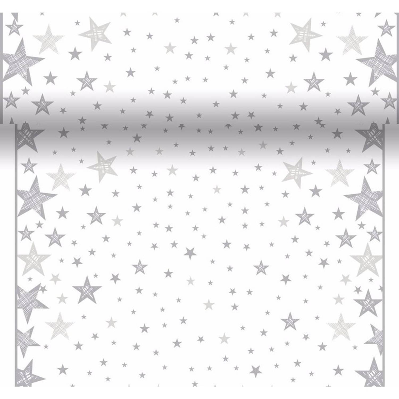 Tafelloper, kerstprint, wit, met, zilveren, sterren, wegwerp, tafelloper, x mass, , kerst