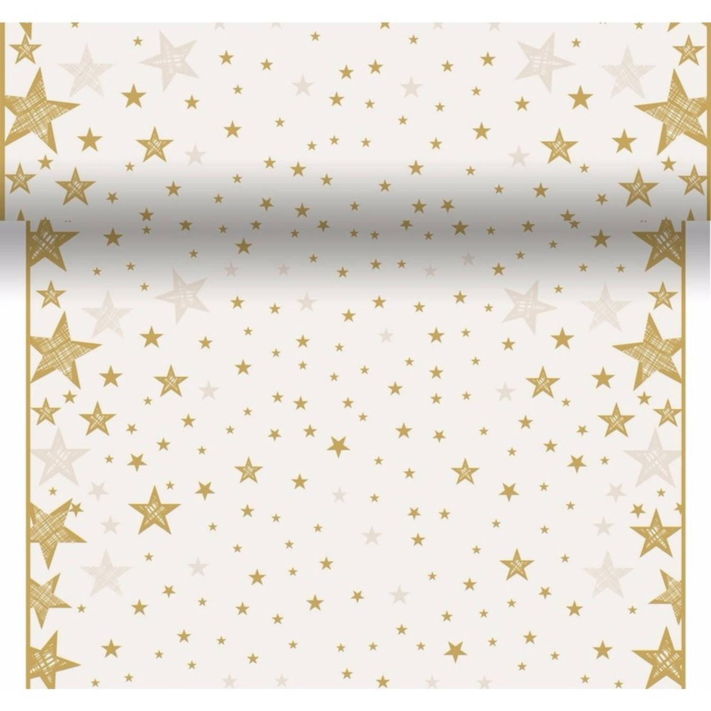 Tafelloper, kerstprint, creme, wit, met, sterren, wegwerp, tafelloper, christmas, , x mass