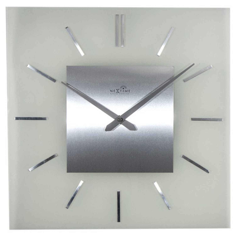 Wandklok NeXtime 40 x 40 cm, melkglas, 'Stripe Square' Radio Controlled
