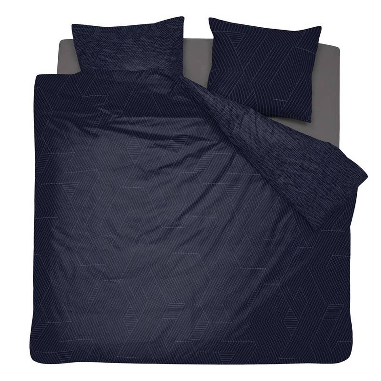 Damai Stray dekbedovertrek - 100% katoen-satijn - Lits-jumeaux (240x200/220 cm + 2 slopen) - 2 stuks (60x70 cm) - Blauw