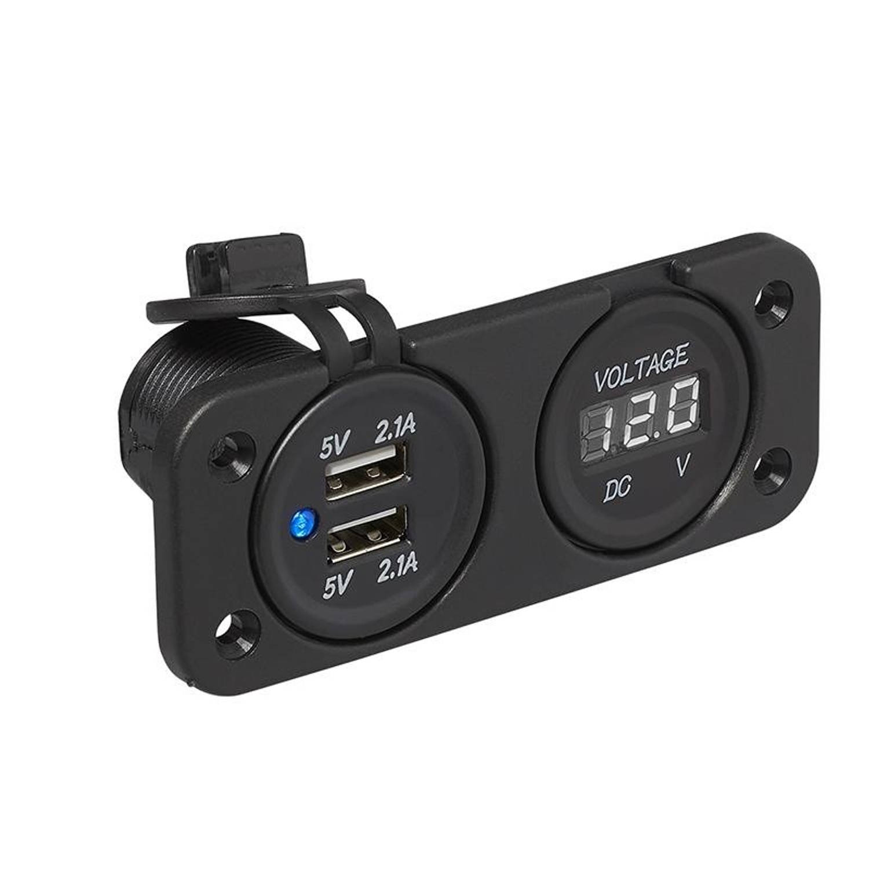 ProPlus inbouwkit: voltmeter 6-30V + USB poort